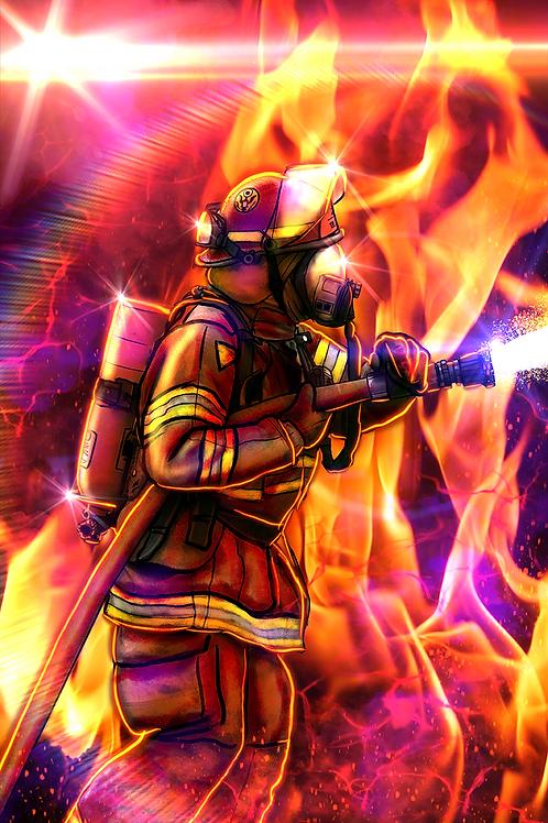 """Heroes Against The Flames"" Art Print"