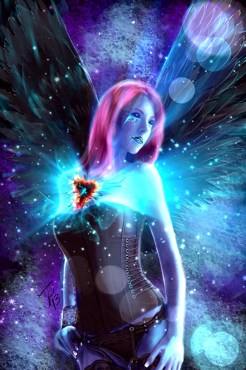 """Black Heart Fairy""  Art Print"