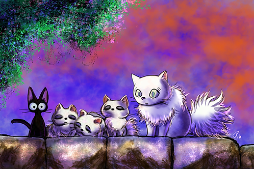 """""""Lily and The Kittens"""" Art Print"""