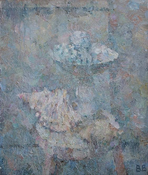 Seashells and a White Vase by VARVARA VYBOROVA