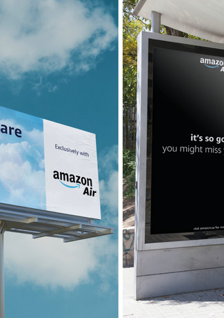 """Marketing billboards along the road to airports. Amazon's services deliver, """"even in the clouds""""."""