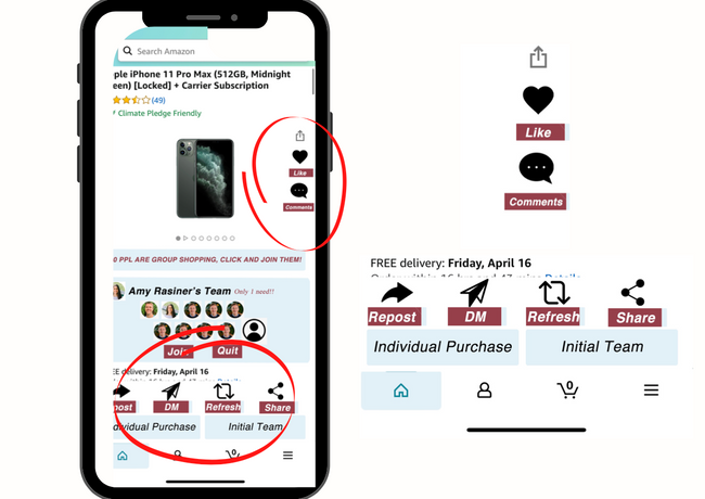 Here shows how a user can share to their social media, dm, or email the product to their peers. They than can join your purchase or give you input on the item. Users can also comment/ like the product.