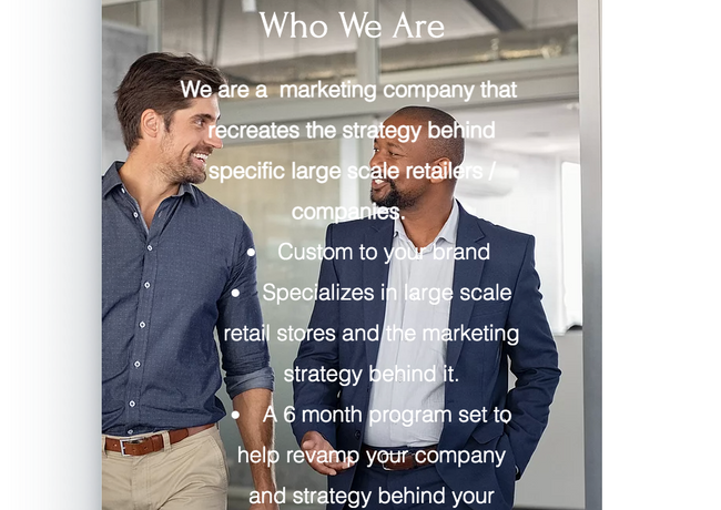 1. A marketing company that would come in and recreate the strategy behind specific stores / companies.  Customized to their customer, Come in change and leave ( would not implement a permanent sector in the company ), Would conduct research on each individual store and where it needs help. Cover social media, in store aesthetic and strategy.