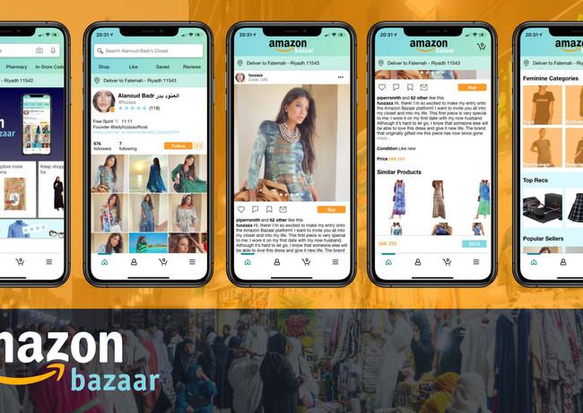 The final mockups of the Amazon Bazaar prototype.