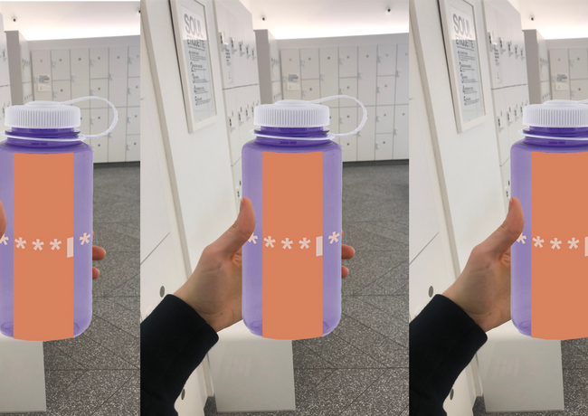 """An example of exclusivity: EVERYWEAR ensures they are targeting a specific clientele by leaving the clues in places only that audience would find. These water bottles that have the letter """"I"""" password clue would be given to existing members to use at group fitness classes."""