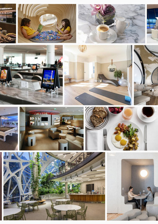 The overall theme and appearance of the lounge: modern, welcoming, fun, and action-packed.