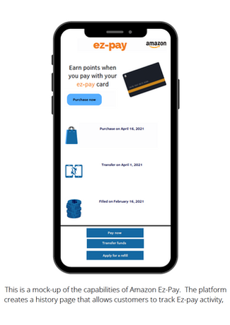 This is a mock-up of the capabilities of Amazon Ez-Pay. The platform creates a history page that allows customers to track Ez-pay activity,
