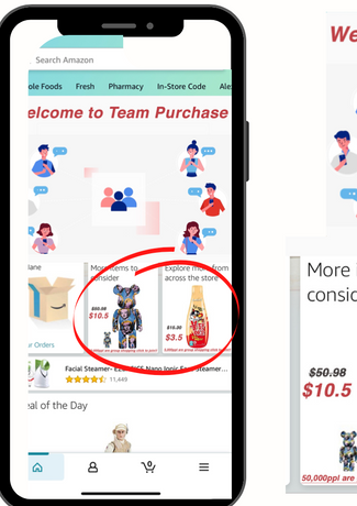 Here is the prototype of the Amazon Home page promoting Team Purchasing and showing comparing Prices
