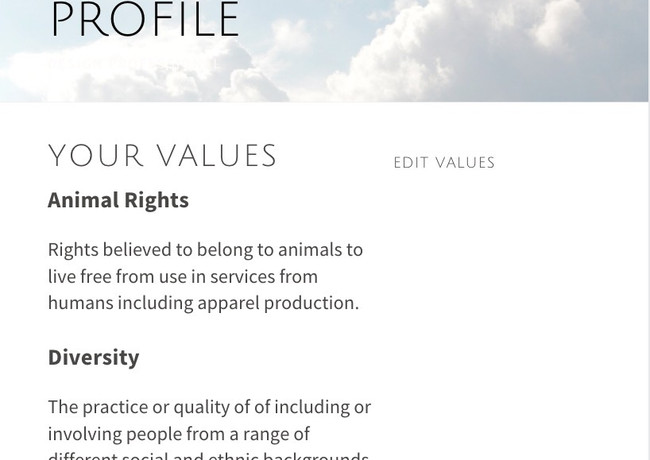 Value Profile: Create a Value Profile! Shop according to your values.