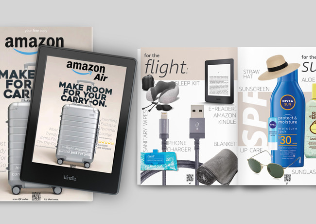 Customers can purchase and receive items before, during, and after their flights with the catalogs.