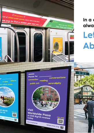 Advertisements around public transportation and LinkNYC stations generate awareness and excitement of POPS.
