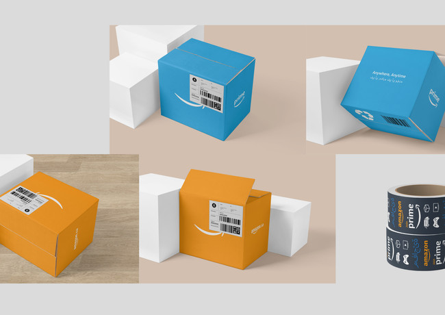 3. Seasonal Boxes: Using Amazon's signature orange and prime blue, Amazon delivers joy and excitement to consumers to their door.