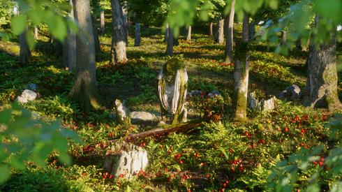 Römische Statuen im Wald