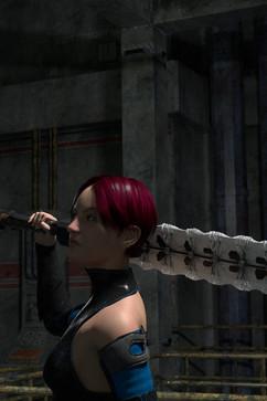 Kämpferin mit Schwert