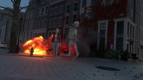 Skelett mit Mensch auf der Straße