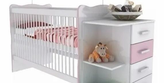 Cuna Infantil Con Cambiador Y Estantes Blanco/Rosa