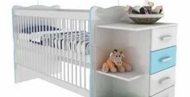 Cuna Infantil Con Cambiador Y Estantes Blanco/Azul