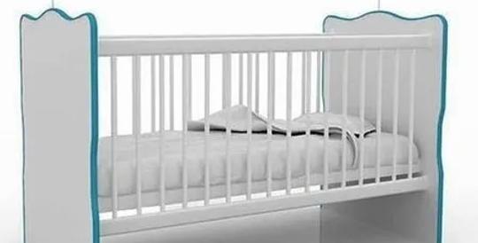 Cuna Infantil Con Parrilla Regulable Blanco/Azul