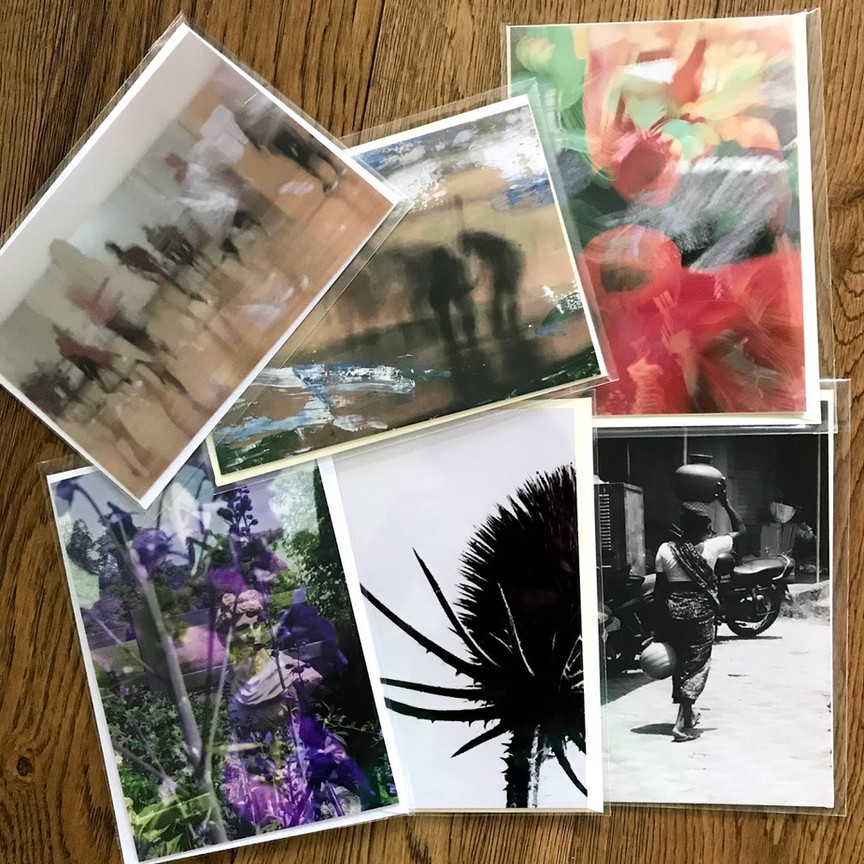 A PHOTOGRAPHIC SELECTION: This includes one each my two best selling works – a painterly like composition of a dance class and a painted over image of Goan fishermen, plus two colourful collages using flower images and two striking black and white photographs. £12 per pack including second class postage.