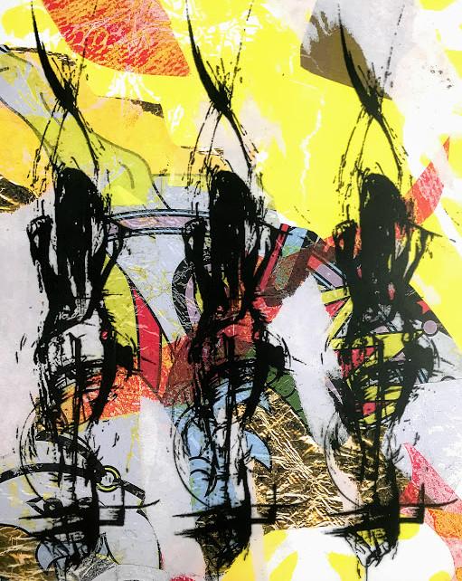 'Dancing Girls' (Mixed Media)
