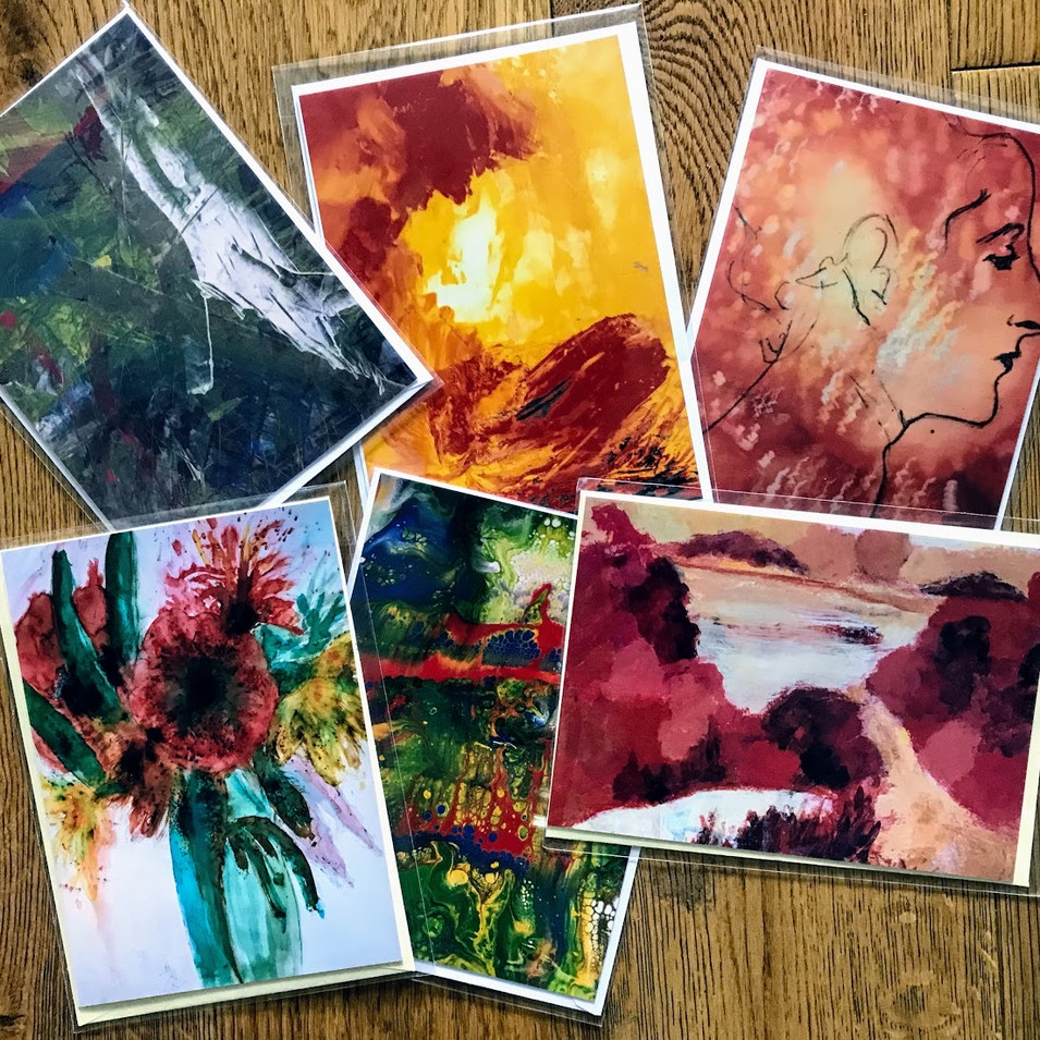 B ARTWORK SELECTION: This includes a landscape collage, a floral work, an acrylic pour, a work featuring a drawing over a photographic background and images of two abstract acrylics. £12 per pack including second class postage.