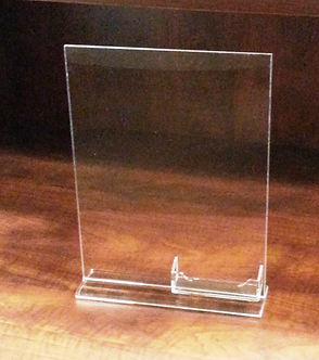 """8.5"""" x 11"""" Acrylic Top Load Sign Holder with Business Card Pocket Attached"""