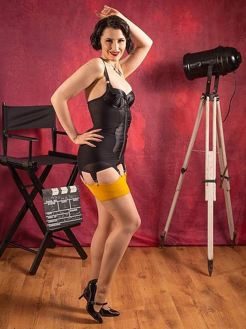 SEAMED STOCKINGS CHAMPAGNE MUSTARD H2068