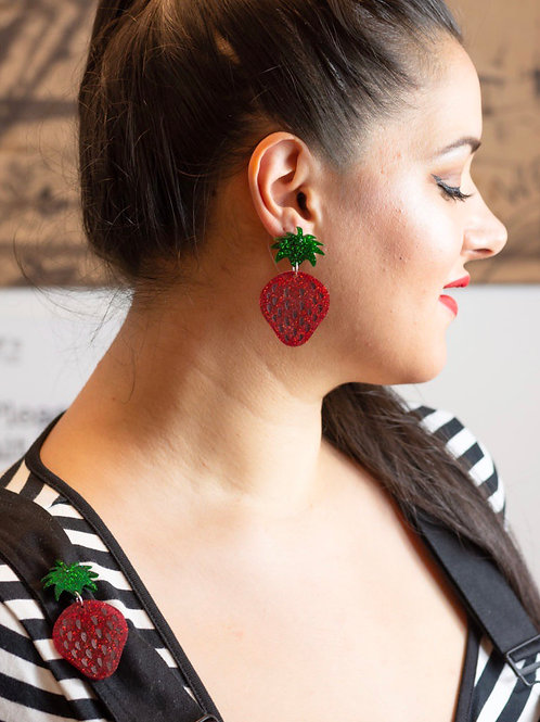 Succulent Strawberry Earrings