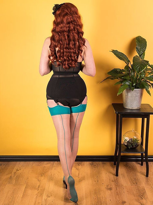 SEAMED STOCKINGS TEAL H2070