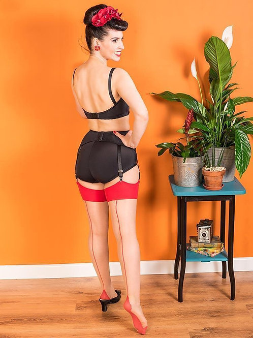 Contrast Red Stockings | Glamour Seamed Stockings | Red Seamed Stockings