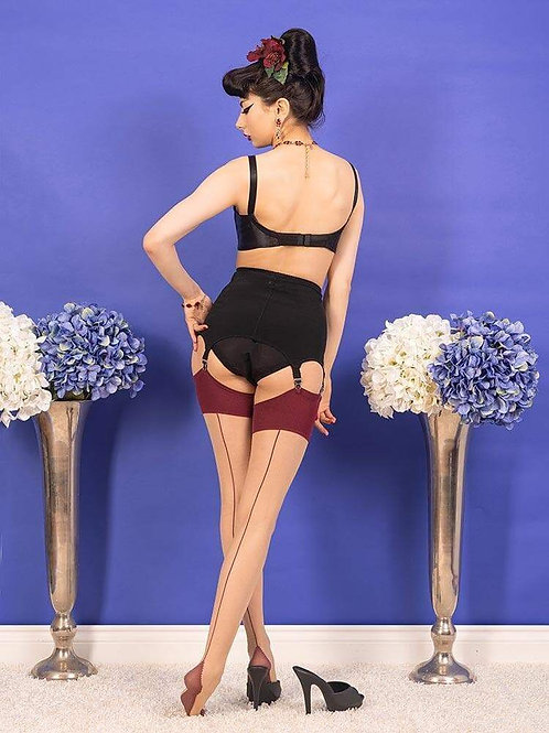 Seamed Stockings | Claret Seamed Stockings | Contrast Seamed Stockings