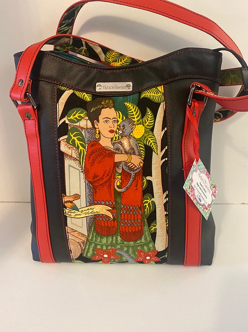 Hebes garden Frida  tote bag black and red