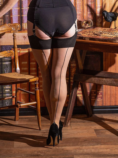 SEAMED STOCKINGS CONTRAST BLACK GLAMOUR H2043