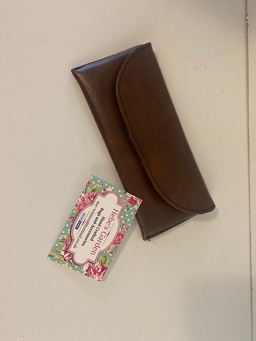 Hebes garden brown faux leather glasses case