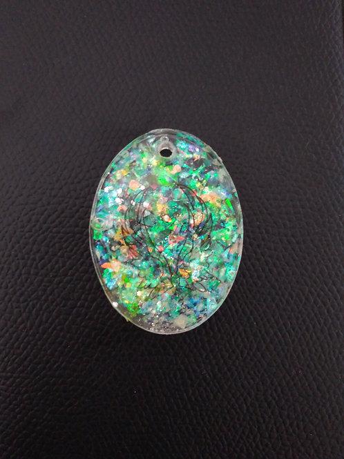 porte-clef, pendentif, collier, bijou, marie yelahiah, boutique, aile d'ange, ange, transparent, jaune, vert, paillette