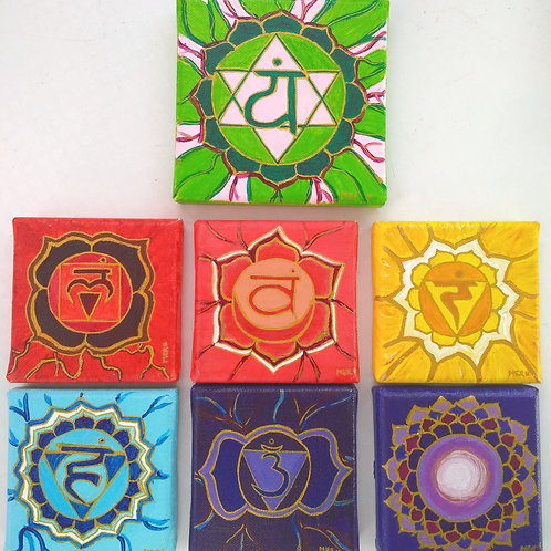 chakra, vert, bleu, orange, jaune, violet, indigo, rose, rouge, toile, peinture, acrylique, hindou, sept chakras, spirituel