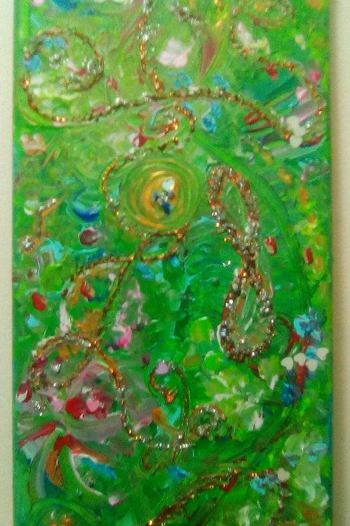 peintre, peinture, toile, vert, acrylique, musique, abstrait, énergétique, marie yelahiah, boutique, spirituel, relief