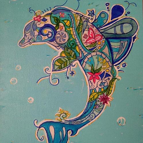 zentange, peintre, peinture, toile, acrylique, feutre, dauphin, mer, océan, marin, rose, dessin, artiste, marie yelahiah,
