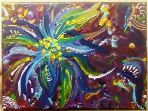toile, peintre, peinture, acrylique, violet, multicolore, abstrait, énergétique, transmutation, marie yelahiah, art, artiste