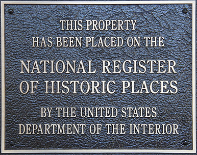 Historic Places National Register Plaque