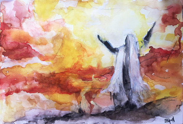 La nuit de feu - Watercolor by Sandra ENCAOUA