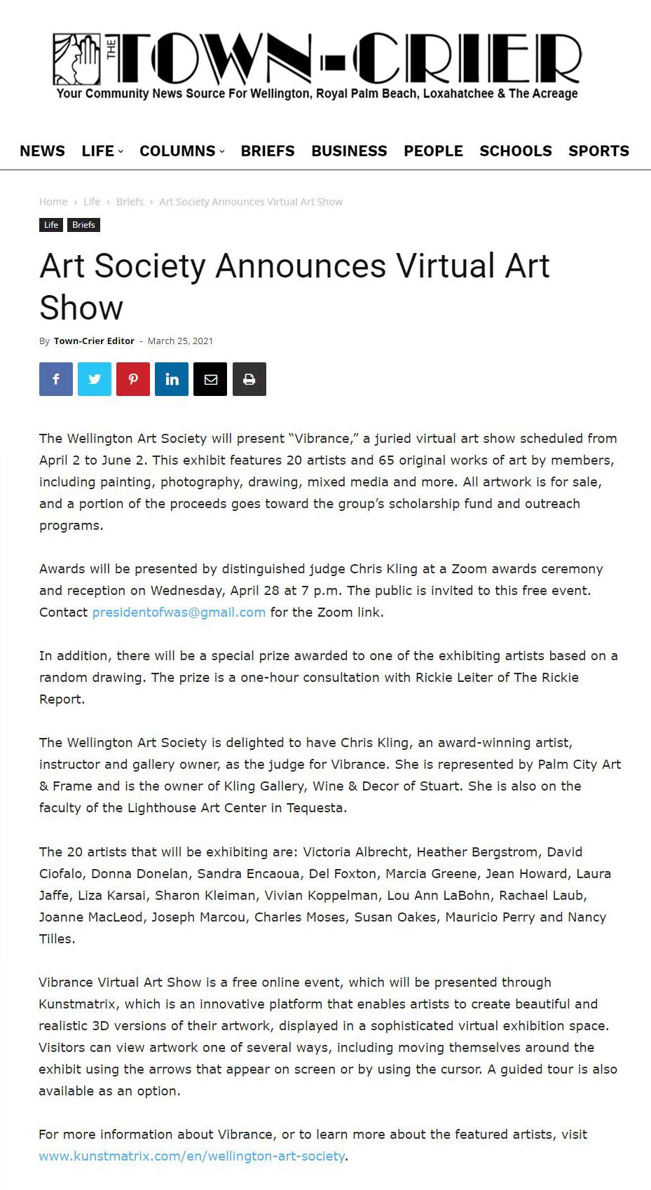 Art Society announces Virtual Art Show