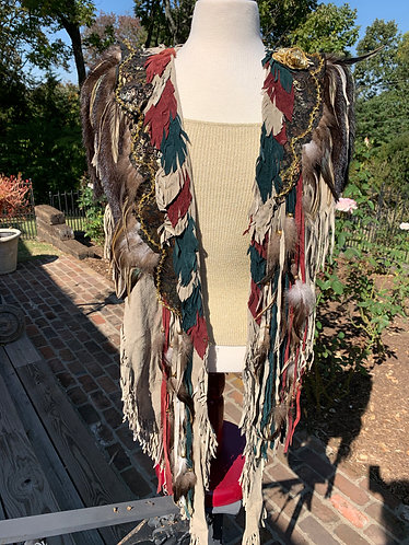 ORIGINAL Hand Made Feather & Fur Shawl