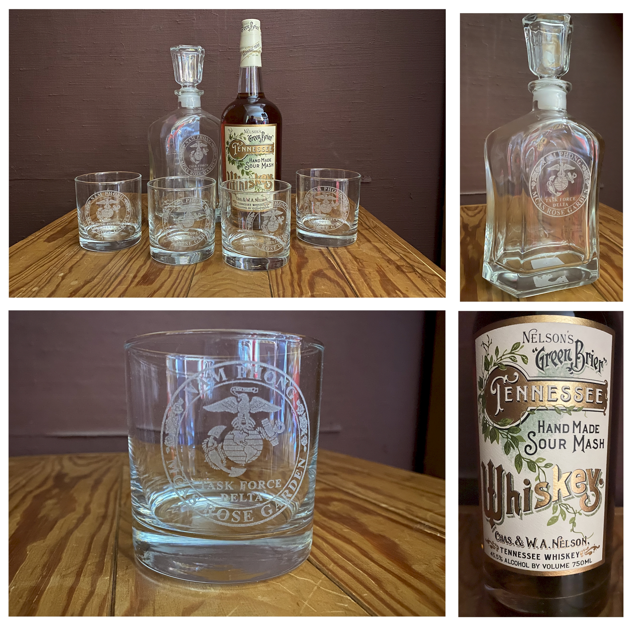 MCAS Rose Garden Engraved Whiskey Decanter and 4 Glasses