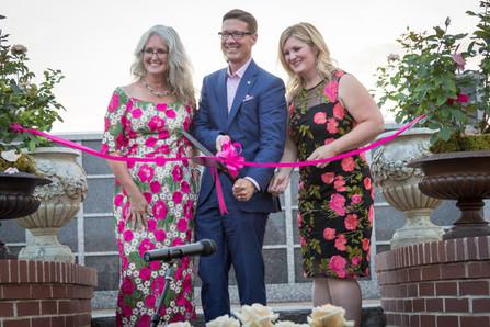 Lisa Sutton, Jeff Duffer and Melissa Hempel dedicate the Lynn Anderson Rose Garden