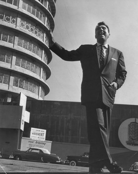At the unfinished Capitol Records Tower - 1956