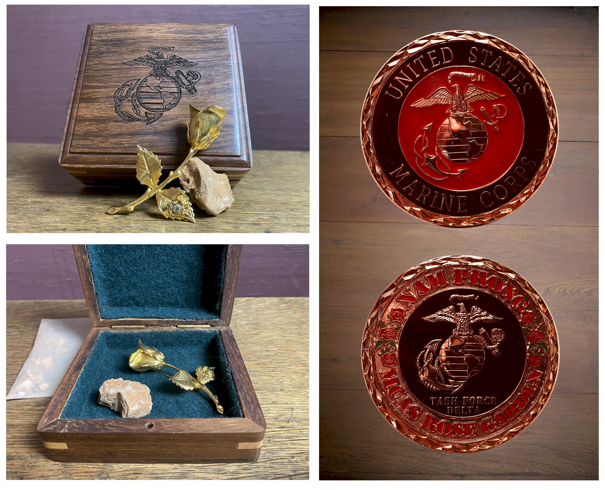 Nam Phong Keepsake Box with MCAS Challenge Coin, Sweetheart Pin and Soil from the MCAS Rose Garden R