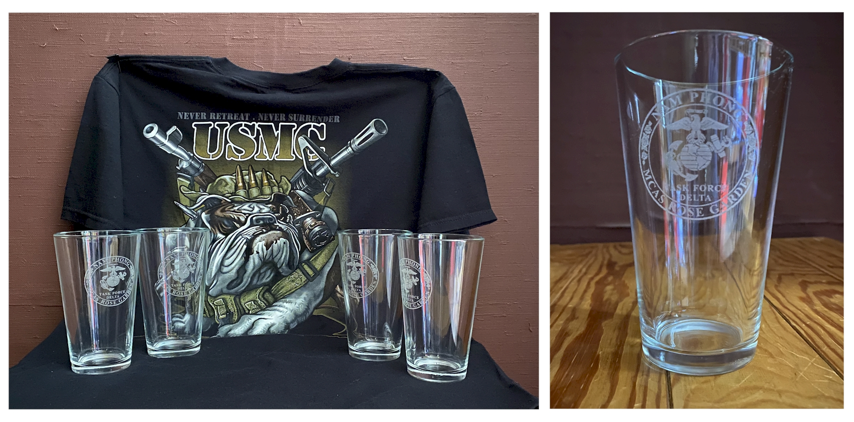 4 MCAS Rose Garden Engraved Beer Glasses and USMC T-Shirt