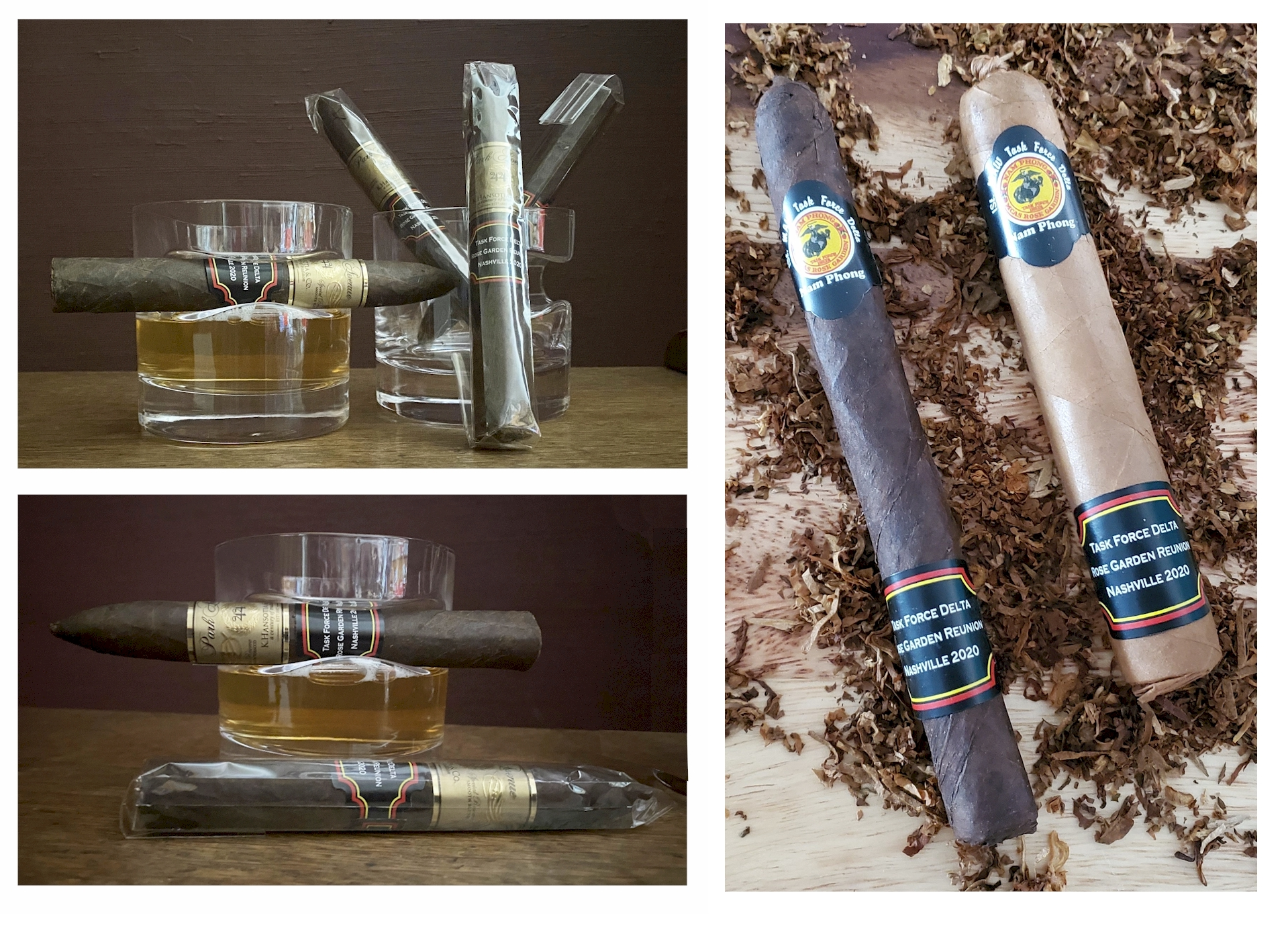 4 MCAS Rose Garden Cigars and 2 Whiskey Cigar Glasses