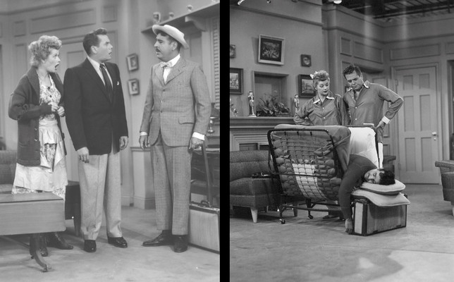 Two classic production stills from 'I Love Lucy'